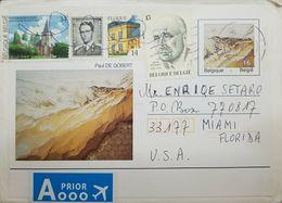 L) 1979 BELGIUM, BIRD, JEAN MONNET, ARCHITECTURE, PAUL DE GOBERT, PEOPLE, NATURE, CIRCULATED COVER FROM BELGIUM TO USA, - Airmail