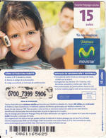PERU - Little Girl On Phone, Movistar By Telefonica Prepaid Card 15 Soles(large Barcode), Exp.date 31/12/11, Used - Peru