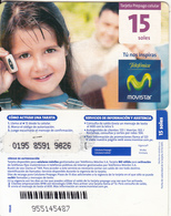 PERU - Little Girl On Phone, Movistar By Telefonica Prepaid Card 15 Soles(small Barcode), Exp.date 31/12/11, Used - Peru