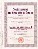 Ancienne Action - Société Anonyme Des Mines D'Or Du Chatelet (dans La Creuse) -  Titre De 1907 - - Mines
