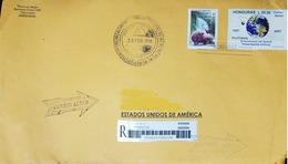 L) 2018 HONDURAS, UPAEP, 50th ANNIVERSARY OF THE SPUTNIK FIRST ARTIFICIAL SATELLITE, WORLD, 1957-2007, BUTTERFLY, NATURE - Honduras