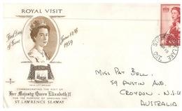 (666) Canada FDC Cover - 1959 Royal Visit To Canada (posted To Australia) - Primi Giorni (FDC)
