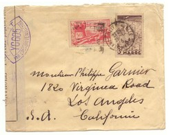 Marcophilie Maroc Lettre Avec 2 Timbres Maroc Protectorat Et 4 Cachets De Meknes Et Censure Militaire - Maroc (1891-1956)