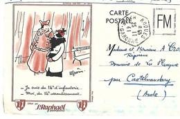 1942 WW2 CARTE POSTALE FM DESSIN ILLUSTRATEUR GUERIN PUBLICITE ST RAPHAEL QUINQUINA CPA Format Cpm 2 SCANS - Publicité