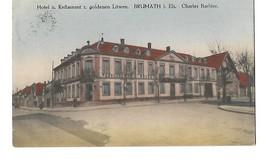 67 BRUMATH HOTEL RESTAURANT GOLDENEN LOWEN 1912 CPA 2 SCANS - Brumath