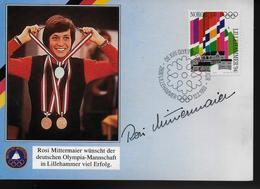 NORVEGE Carte 1993 Jo 1994 Ski Rosi Mittermaier Medailles - Ski