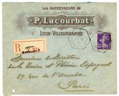 P.LACOURBAT LYON VILLEURBANNE ENV ILLUSTREE RECOMMANDEE 1912 LYON TERREAUX F AGENCE SCANS RECTO ET VERSO - Marcophilie (Lettres)