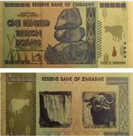 Souvenir Zimbabwe 100 Trillion Dollars Banknote Color Gold P 91 UNC - Andere - Afrika