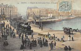 CPA 76 DIEPPE DEPART DU TRAIN POUR PARIS A LA GARE MARITIME - Dieppe