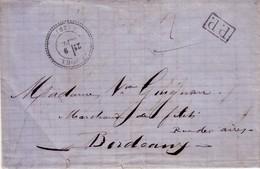 LANDES - YCHOUX - T24 DU 9 SEPTEMBRE 1871 - P.P. EN NOIR - RARE - AVEC TEXTE ET SIGNATURE FABRE. - Marcofilia (sobres)
