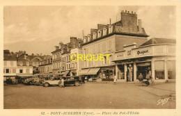 27 Pont-Audemer, Place Du Pot D'Etain, N° 2, Garage Peugeot, Pompe Essence, Limousines Et Autocar..., Cliché Peu Courant - Pont Audemer