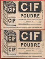 2 Buvards Anciens Produits Ménagers : CIF Poudre à Récurer -UNIS FRANCE - Sté Des Cirages Français -PARIS-LYON-BRUXELLES - Wash & Clean