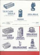 2 Buvards Anciens Produits Ménagers : LOUIS GONNET à LYON -TEINTURE IDEALE, RONDO, BOULE,IDEALO,NEGRINE,DECOLORANT - Wash & Clean