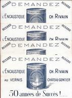 4 Buvards Anciens Lithograph Produits Ménagers : ENCAUSTIQUE CH.RIVAIN à CHATEAU GONTIER (mayenne) Imp DALIBARD à LAVAL - Wash & Clean