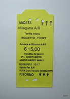 ITALY 2012. Return Tickets For Public Transport. Issueing Office: Alilaguna Srl. San Marco, Venezia. - Busse