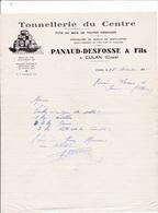 18-Correspondance Panaud-Desfosse  Tonnellerie Du Centre  Culan (Cher) 1938 - Petits Métiers