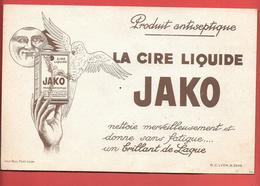 Buvard Ancien Illustré,lithographié-produits Ménagers :CIRE LIQUIDE JAKO LYON- Rare BRUN FONCE -perroquet,lune Humanisée - Wassen En Poetsen