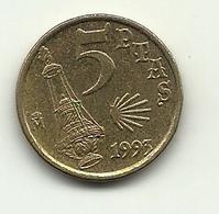 1993 - Spagna 5 Pesetas - Jacobeo, - [ 5] 1949-… : Regno