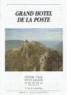 Ancienne Facture Du Grand Hôtel De La Poste (Antonia Et Claude Boillot) Pontarlier (11/8/1991) - Sports & Tourisme