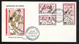 Congo  FDC  Lettre Illustrée Premier Jour Brazzaville Le 21/07/1962 N°150;151 & P.A. N°7 Jeux Sportifs Boxe .....TB - Pugilato