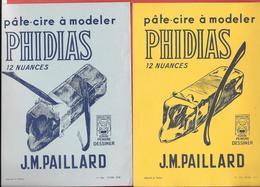 2 Buvards 1954 Et 1955 Illustrés Lithographie - PHIDIAS De J.M. PAILLARD  Pâte-cire à Modeler  12 Nuances - Stationeries (flat Articles)