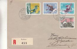 Liechtenstein - Lettre Recom De 1955  - Oblit Vaduz - Alpinisme - Ski - Slalom - Valeur 50 Euros - Liechtenstein