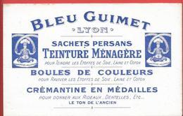 Rare Buvard Ancien Illustré, Lithographié -produit Ménager -BLEU GUIMET à LYON Sachets Persans, Teinture, Boules Couleur - Wassen En Poetsen