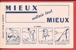 Buvard Ancien Illustré, MIEUX Nettoie MIEUX - IMOD LIMOGES     - FABLE DE LA FONTAINE - LE HERON  '4 Dessins - Wash & Clean