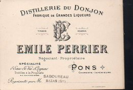 Pons (17 Charente Maritime) Carte Commerciale EMILE PERRIER (distillerie Du Donjon) (PPP12824) - Advertising