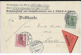 BAS-RHIN - 1910 - CARTE POSTALE CONTRE-REMBOURSEMENT De ZABERN (SAVERNE) => SAALES - Elzas-Lotharingen