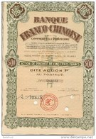 CHINA CHINE FRENCH CHINESE BANK FOR TRADE & INDUSTRY -PRIORITY SHARE OF 500 FRANCS W/ COUPONS - Asie