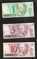 BRAZIL - El BANCO CENTRAL Do BRAZIL - 1 REAL, 5 REAIS & 10 REAIS / Lot Of 3 Different Banknotes - Brasile