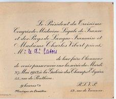 VP12.141 - PARIS 1913 - Science - Carte / Carton D'invitation Du Président Charles VIBERT à Mr Le Docteur CATOIS à CAEN - Unclassified