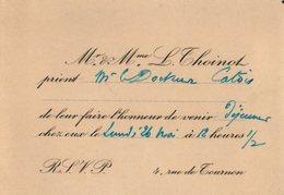 VP12.142 - PARIS - Science - Carte / Carton D'invitation Du Docteur L. THOINOT à Mr Le Docteur CATOIS à CAEN - Faire-part