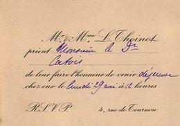 VP12.143 - PARIS - Science - Carte / Carton D'invitation Du Docteur L. THOINOT à Mr Le Docteur CATOIS à CAEN - Faire-part