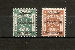 PALESTINE 1920 2M, 3M SG 31, 32 PERF 15 X 14  MOUNTED MINT Cat £15 - Palestine