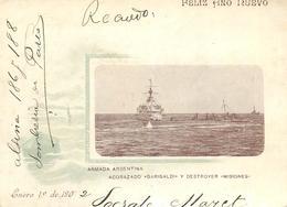 """CARTE LETTRE (entier Postal 1902) - Armada Argentina, Acorazado """"Garibaldi"""" Y Destroyer """"Misiones"""". - Argentine"""