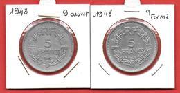 ** FRANCE - 5 Francs LAVRILLIER 1948 / Les 2 Types ** - J. 5 Francs