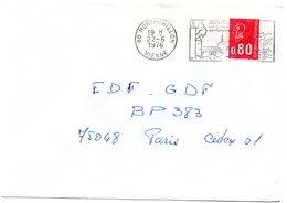 VIENNE - Dépt N° 86 = MONTMORILLON 1976 = FLAMME à DROITE = SECAP Illustrée ' CLIMAT / Monuments Romans' - Postmark Collection (Covers)
