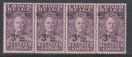 Belgisch Congo 1931 Stanley Ovptd 3.25F Op 2.75F Strip Van 4 ** Mnh (38940D) - Belgisch-Kongo