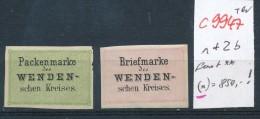 Wenden Kreispost Nr.  1+2   Fast **  (c9947  )  Siehe Scan Vergrößert - 1857-1916 Empire