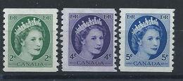 Canada N°268a/71a** (MNH) 1954 - Elizabeth II (dentelés 9 1/2 Verticale) - Unused Stamps