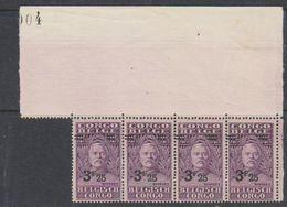 Belgisch Congo 1931 Stanley Ovptd 3.25F Op 2.75F Strip Van 4 ** Mnh (38941A) - Belgisch-Kongo