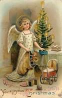 ANGE - Joyeux Noël, Carte Gaufrée. - Anges