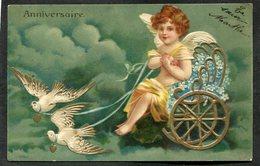 CPA - Illustration - Ange Dans Une Charrette Tirée Par Des Oiseaux - Anniversaire - Carte En Relief  (dos Non Divisé) - Angels