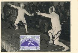 D34068 CARTE MAXIMUM CARD RR 1955 SAN MARINO - FENCING OLYMPICS EDOARDO & DARIO MANGIAROTTI + AUTOGR. - READ CP ORIGINAL - Fencing