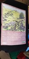 Grand CALENDRIER Tissus 1982 Chiffon Torchon Illustration Berger Pub Garage Automobile RENAULT Etb MOREAU R 36 BUZANCAIS - Calendars