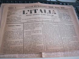 GIORNALE L'ITALIA 22 SETTEMBRE 1859 - War 1939-45