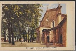 CHIESA DI S. BERNARDINO - CARAVAGGIO -,EDIZ. ARTALDI -FORMATO PICCOLO ANNI '30 - VIAGGIATA 1960 FRANCOBOLLO ASPORTATO - Eglises Et Couvents