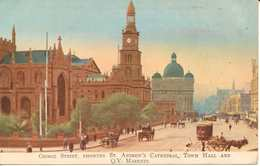 Postcard Australia New South Wales Sydney George Street St Andrew's Cathedral Town Hall Unposted Early 20th Century ? - Sydney